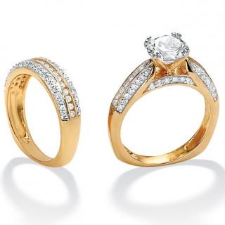 Sterling Silver and 18K Gold Over Sterling Silver CZ Wedding Ring Set