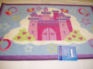 Childrens Princess Castle Rug Mat Throw Pink Purple