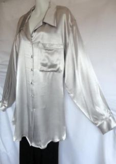 Holiday Liz Claiborne Silver Gray Rayon Satin Boxy Blouse Tunic Shirt