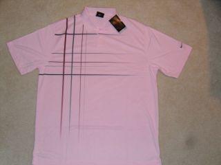 Dri Fit Staycool Jetstream Plaid Polo Shirt Pink $65 Tiger Cink