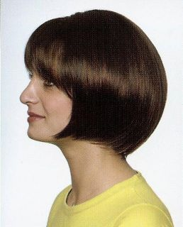 Dark Brown Chin Length Hair Bob Style Wig Wigs w Bangs