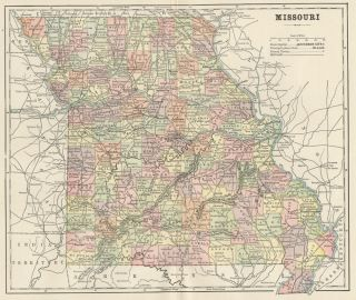 Map Authentic 1892 Counties Cities Towns Railroads Topography