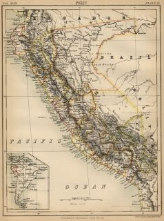 Peru Authentic 1889 Map showing Cities; Ports; Mountains General