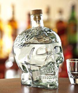 Clear Glass Skull Brain Liquor Decanter Bottle New in Box Gift