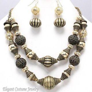 Ornate Burnished Gold Bead Chunky Necklace Set Elegant Costume Jewelry
