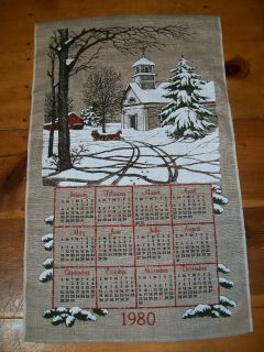 Fabric Calendar 1980 Church Snow Textile Horse Sled