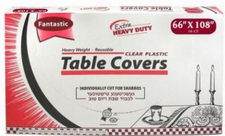 66x108 Heavy Duty Disposable Clear Plastic Table Cover Individually