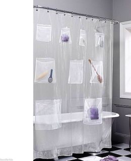 Clear Vinyl Shower Curtain w 9 Mesh Pockets 70 x 72 Metal Grommets