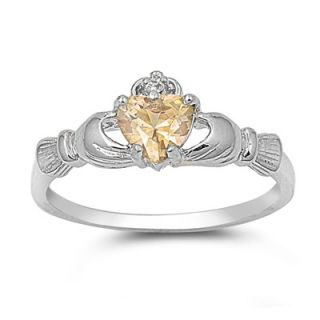 Sterling Silver Claddagh Ring Size 9 CZ Heart Champagne Gold Irish