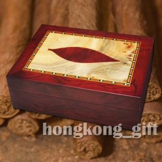 Cigar Case Brown Wood Box Humidor Humidity Gauge Hygrometer Humidifier