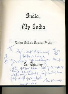 Sri Chinmoy India Indian Book Signed to Ali Akbar Khan