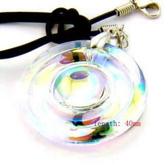 Fashion Gong Circle Crystal Lampwork Glass Bead Pendant Necklace