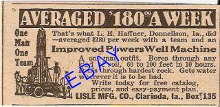 1924 Lisle Well Drill Machine Drilling Clarinda Iowa