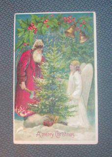 VINTAGE CHRISTMAS POSTCARD OLD WORLD SANTA ANGEL GOLD BELLS EMBOSSED