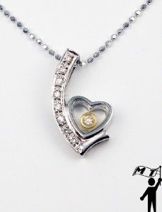 Gold Floating Happy Diamond Heart Pendant Lovely Gift L K
