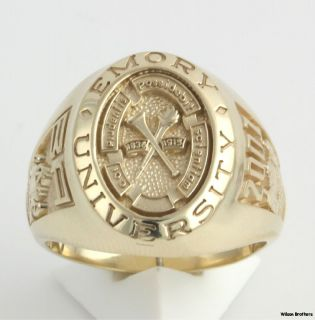 2001 Emory University Mens Class Ring 10K Yellow Gold Solid Back Band