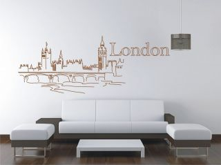 LONDON Bridge City Skyline Vinyl Decal Wall Sticker Wall Tattoo Wall