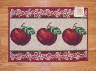 Country RED APPLES Tapestry RUG Mat 19x27 Non Slip Kitchen/Classroom