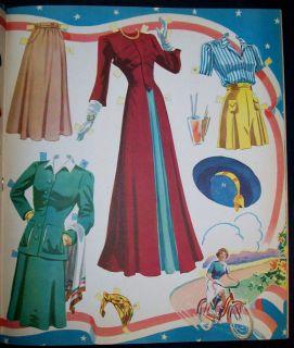 Claudette Colbert Paper Doll Book 1943 Saalfield Uncut Complete