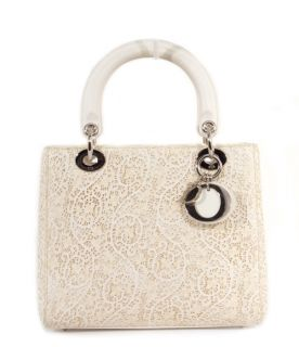 Christian Dior Classic Lady Dior Ivory Lace Bag