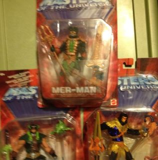 2002 He Man MOTU Action Figure 3 Fig Lot Mer Man Skeletor Tri Klops