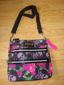 Authenic BETSEY JOHNSON Skull & Roses Black Crossbody Bag NWT