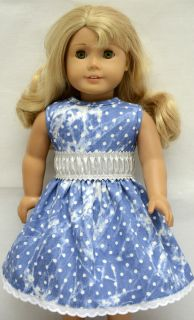 Doll Clothes Fit American Girl 18 Doll Printed Denim Dress