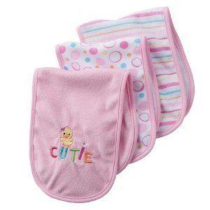 Girls 3 Pack Duck Design Cutie Burp Cloths Pink Brand New