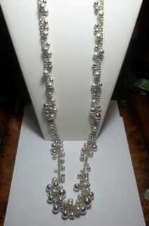 Chicos Brushed Silver Cluster Balls Necklace 40 Silver Chain Ball New
