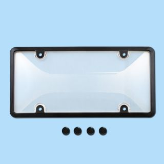 CLEAR PLASTIC LICENSE PLATE SHIELD BLACK FRAME bug cover tag protector