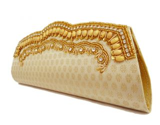 Indian Beige Beaded Clutch Women Evening Party Clutch Bag Ladies Purse