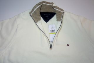 New $85 Tommy Hilfiger Mens Classic Half Zip Sweater Pique Mock Neck