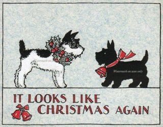 Christmas JRT Scotty Dogs REPRO GREETING CARD Jack Russell Terrier