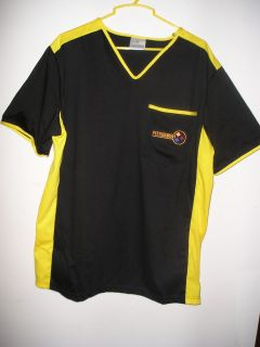 Pittsburgh Steeler Colors Coach Scrub Style Shirt w Pocket Logo New