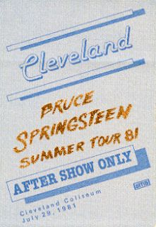 Bruce Springsteen 1981 Tour Cleveland Gold Foil Pass