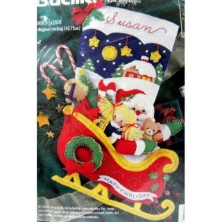 Bucilla Christmas Santas Sleigh Stocking Kit Felt Applique Sequins 18