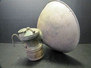 1900s Brass Carbide Light AUTO LITE Coal Miners Lamp By Universal Lamp