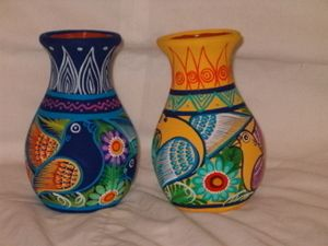 Mexican Amate Style Folk Art Painted Clay Pottery Vase