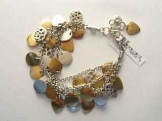 New Brighton Hampton Hearts Silver Gold Charm 4 Strand Bracelet