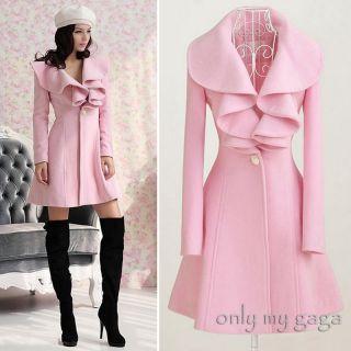 New Women Pink Trench Coat Jacket Parka Fashion Slim Fit Gossip Girl