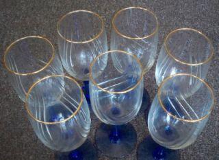 set of 7 vintage blue stem cobalt wine glasses gold rim goblets no