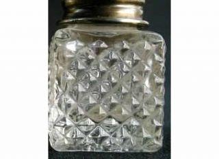 1930s CLEAR CUT GLASS DIAMONDS SQUARE MINI SALT & PEPPER SHAKERS S&Ps