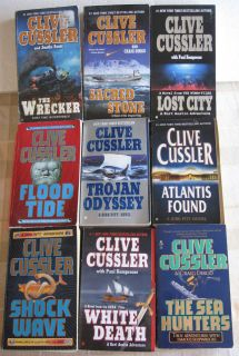 Large Lot of 17 Clive Cussler Mystery Suspense Paperback Books