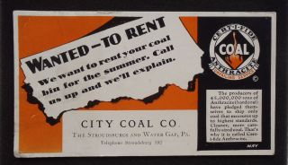 1930s Blotter Anthracite City Coal Co. East Stroudsburg Water Gap