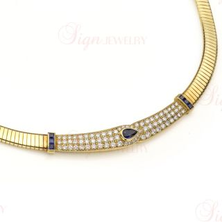 VAN CLEEF ARPELS Diamond Sapphire Yellow Gold Collar Necklace