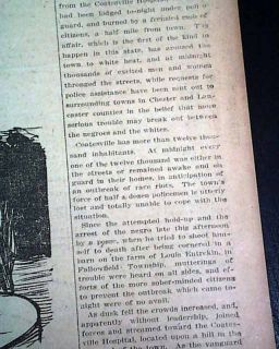 1911 Coatesville PA Negro Lynching Z Walker Newspaper