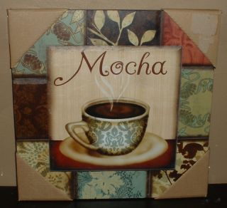 Coffee Cup Wall Plaque Bar Sign Cafe Mocha Damask Java Kitchen Home