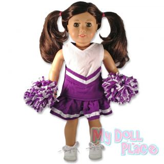 Doll clothes fit American Girl * Purple Cheerleader Outfit w/ Poms