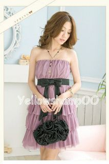Big Bow Tier Cocktail Dress XS s Pink Purple White