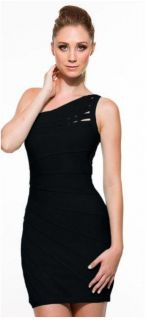 Sexy Clubwear Clubbing Cocktail Side Shoulder Slits Black Dress